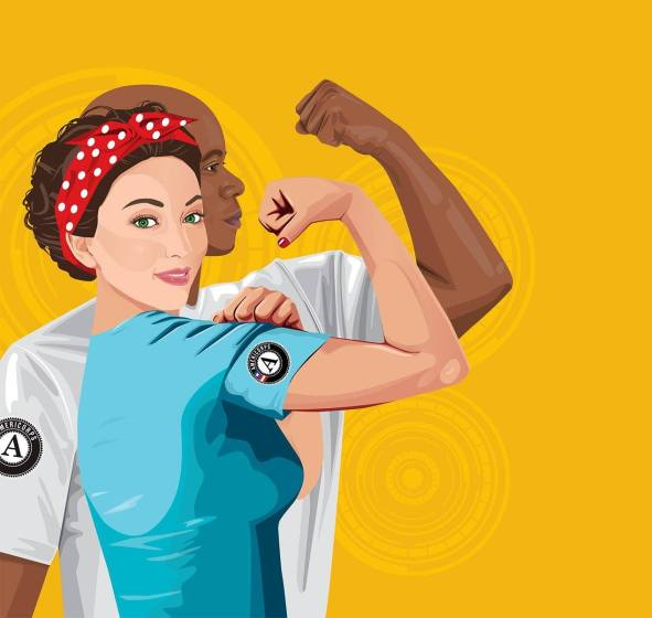 Drawing of AmeriCorps members make a muscle with the AmeriCorps emblem